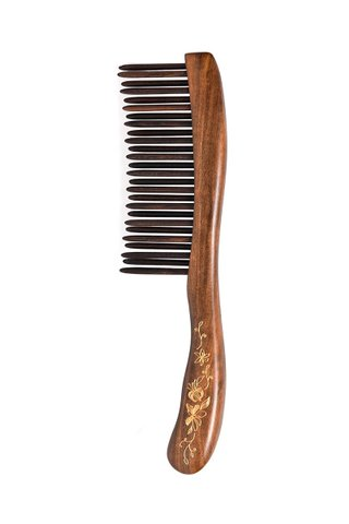 8100130 | Tan's Chacate Preto Wooden Massage Comb With Handpainted Flower Design