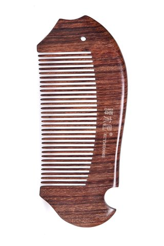 8100210 | Tan's Swartzia sp WOoden Antistatic Comb With Handmade Fish Design