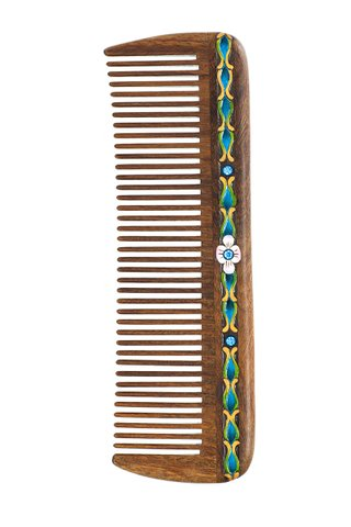 8100014 | Tan's Natural Green Sandal Wooden Comb With Handpainted Crystal Inlay Gift Set