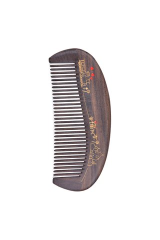8100188 | Tan's Natural Chacate Preto Wooden Comb With Handpainted Happiness Train Design Gift Set