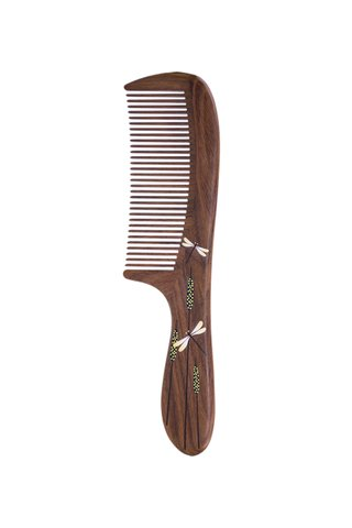 8100452 | Tan's Green Sandal Wooden Comb With Handpainted Dragonfly Design