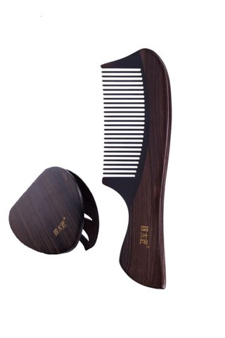 8100493 | Tan's Natural Buffalo Horn Comb Teeth With  Ebony Wood Handle Comb And Mirror 2 in 1 Gift Set