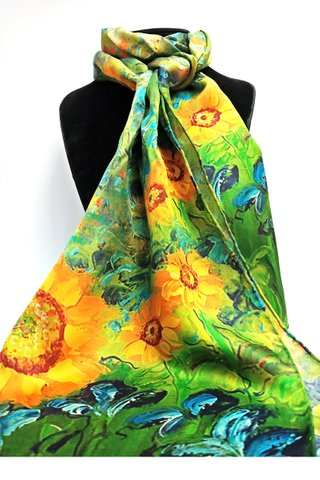 100% Silk Scarf Smooth and Soft Long Scarf For Female 21