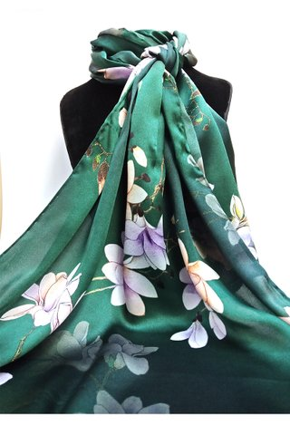 100% Silk Scarf Smooth and Soft Long Scarf For Female 22