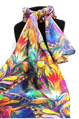 100% Silk Scarf Smooth and Soft Long Scarf For Female 29